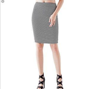 Guess hi waist striped pencil skirt size M new